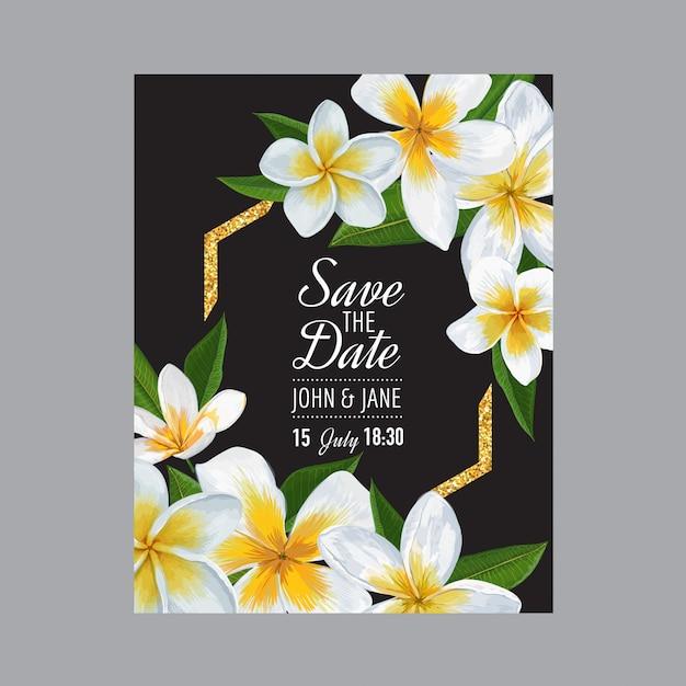 Wedding invitation template with flowers Premium Vector
