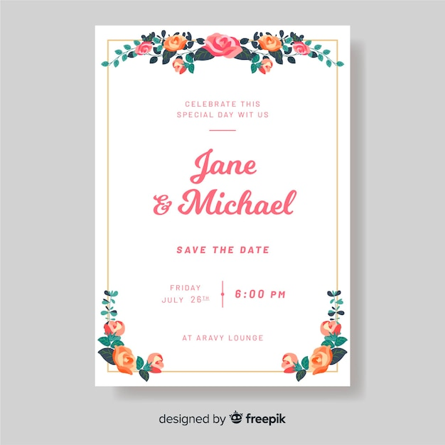 Wedding invitation template with flowers Free Vector