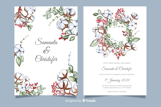 Wedding invitation template with flowers Vector | Free Download