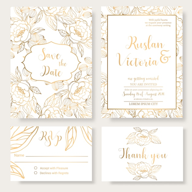 Wedding invitation template with golden decorative elements Premium Vector