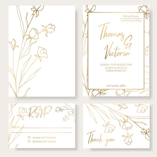 Wedding invitation template with golden decorative elements. Premium Vector