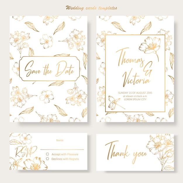 Wedding invitation template with golden decorative elements Premium Vector