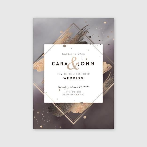 黄金の詳細と結婚式の招待状のテンプレート 無料ベクター