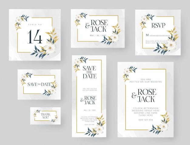 Wedding invitation template with golden nature Premium Vector