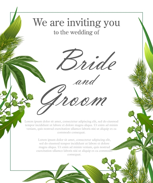 wedding invitation template with green leaves and fur branches