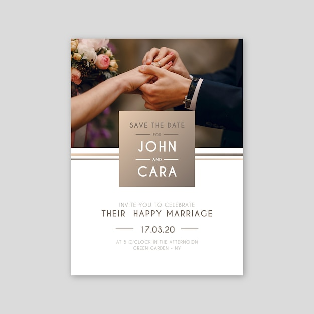 Wedding invitation template with image Free Vector