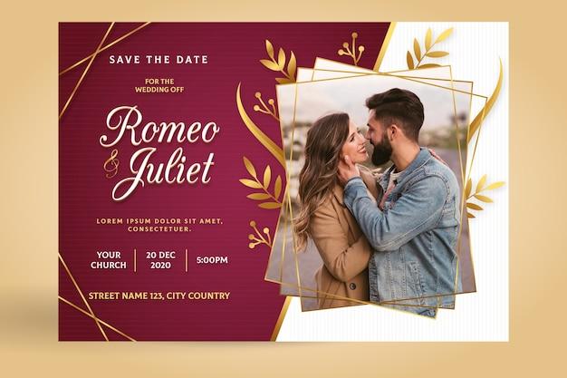 Wedding invitation template with image Premium Vector