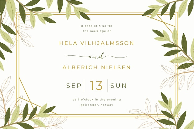 Wedding invitation template with leaves Free Vector