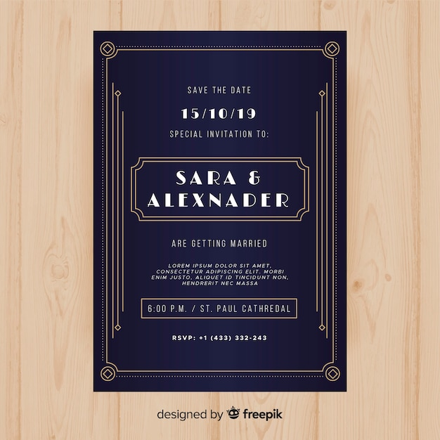wedding invitation template with lovely art deco concept vector