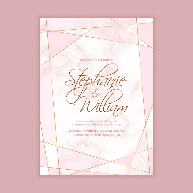 Wedding invitation template with marble background and geometric shape in golden line Premium Vector
