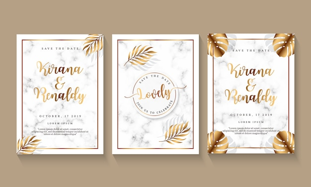 Wedding invitation template with marble design and botanical element Premium Vector