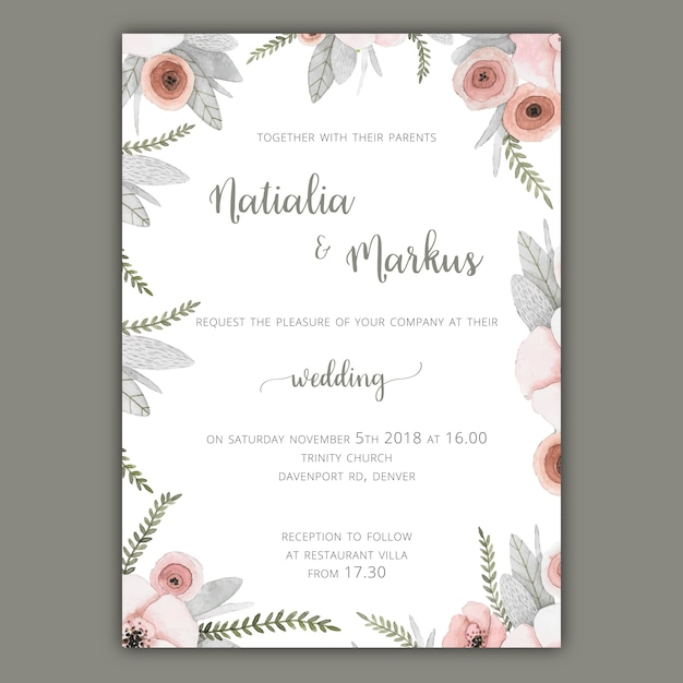 Wedding Invitation Template With Pastel Flowers Vector  Free Download