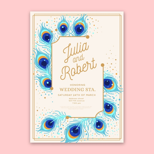 Wedding invitation template with peacock feathers Premium Vector