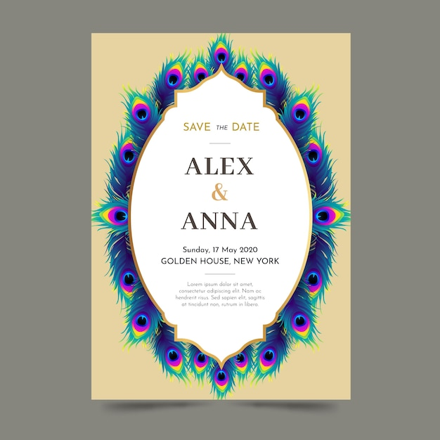 Wedding invitation template with peacock feathers Free Vector