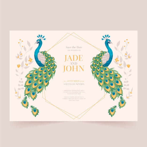 Premium Vector Wedding Invitation Template With Peacock Feathers