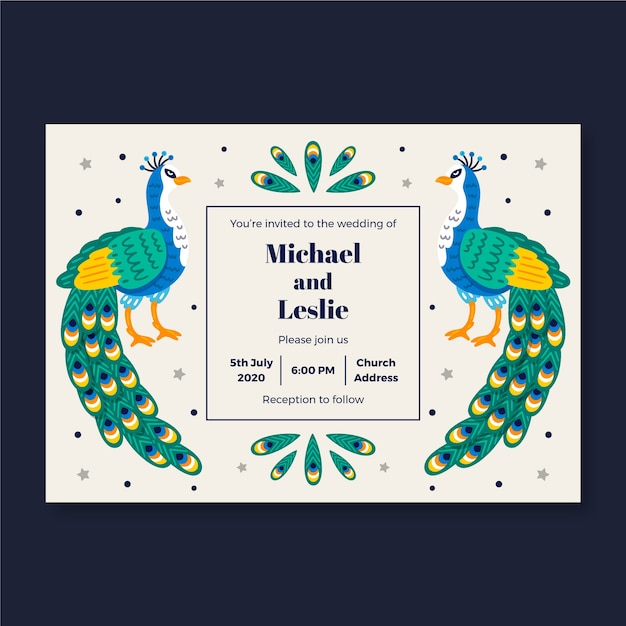 Wedding invitation template with peacock Free Vector