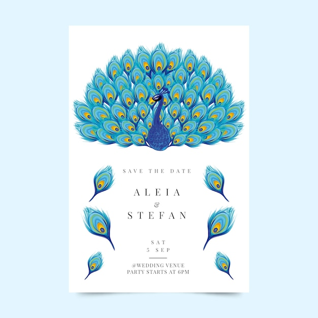 Wedding invitation template with a peacock Free Vector