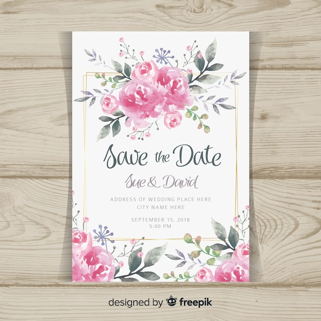 Wedding invitation template with peony flowers Free Vector