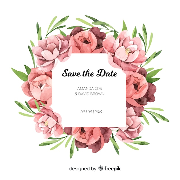 Wedding Invitation Template With Peony Flowers Vector