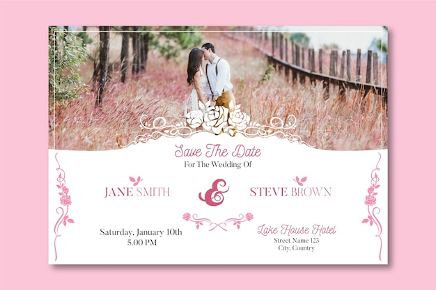 Wedding invitation template with photo of cute couple Free Vector