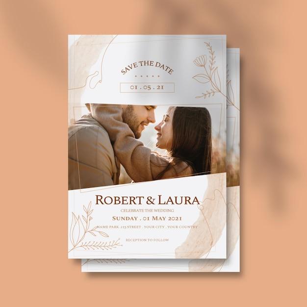 Шаблон свадебного приглашения с фото пары Бесплатные векторы