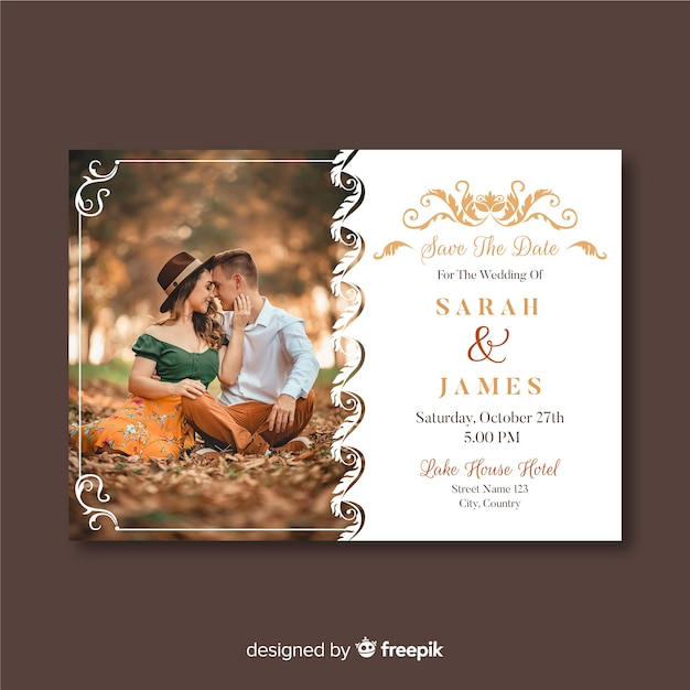 Wedding invitation template with photo and ornaments Free Vector