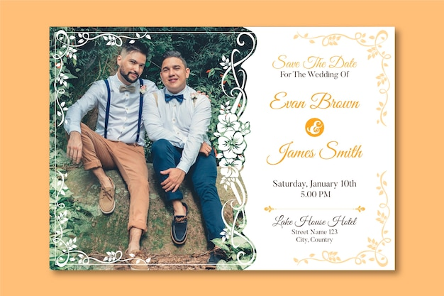 Wedding invitation template with photo of two men in love Free Vector