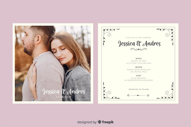 Wedding Invitation Free Download Software: Wedding Invitation Template With Photo Vector