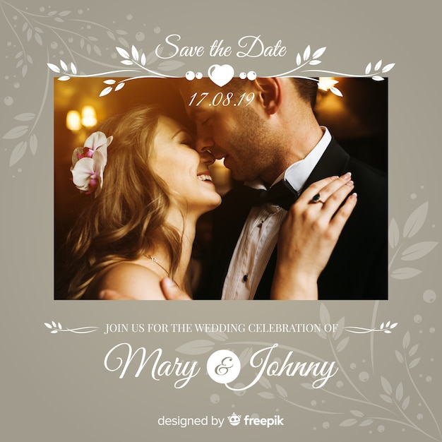 Free Vector Wedding Invitation Template With Photo