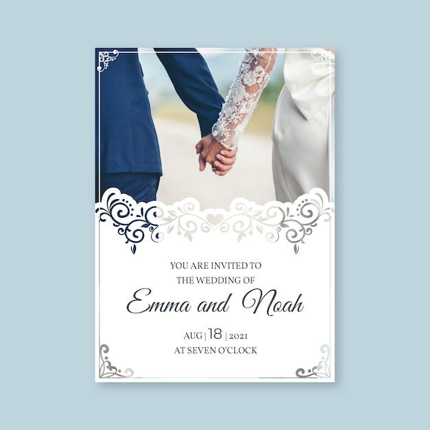 Шаблон свадебного приглашения с фото Premium векторы