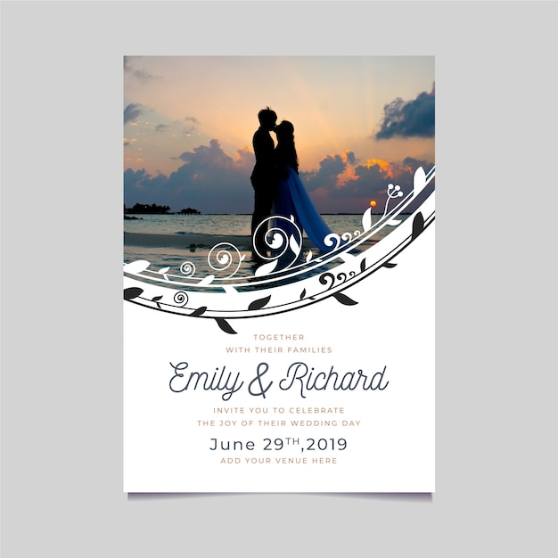 Wedding invitation template with photo Free Vector