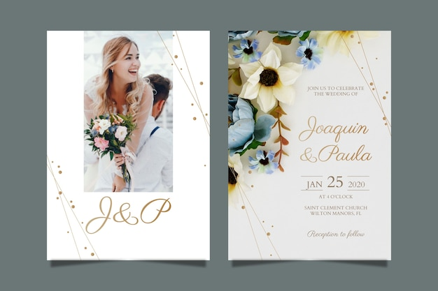Wedding invitation template with picture Free Vector