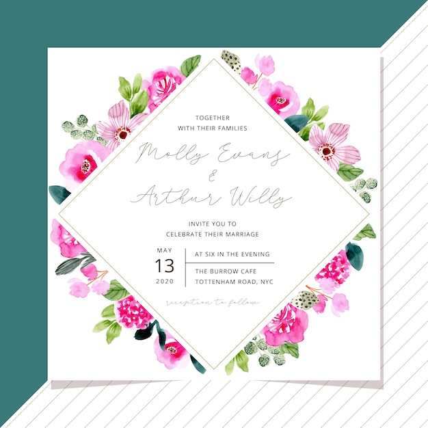 Wedding invitation template with pink floral frame watercolor Premium Vector