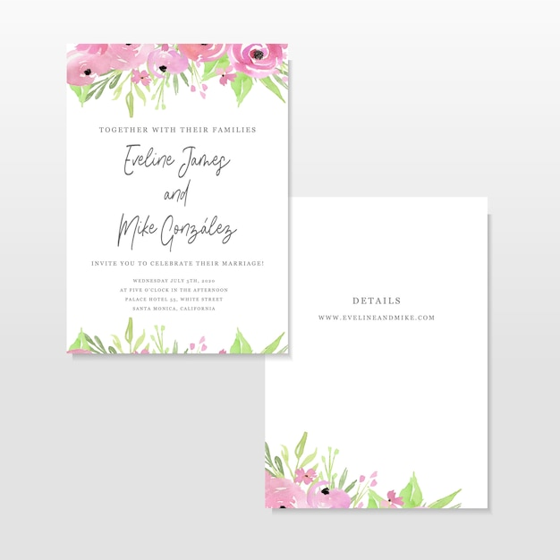 Wedding invitation template with pink flowers Premium Vector