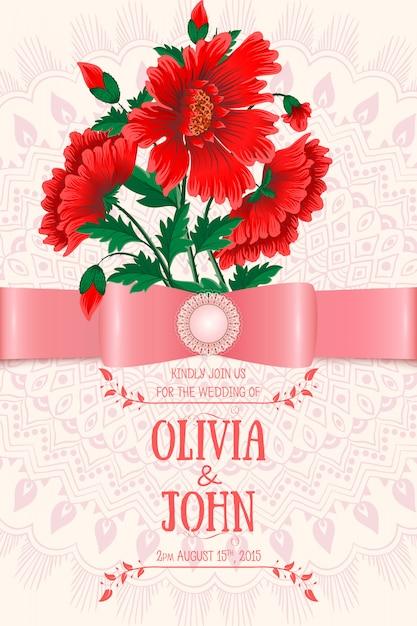 赤い花の結婚式の招待状のテンプレート 無料ベクター