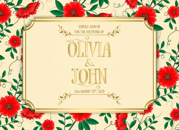 Wedding invitation template with red flowers Free Vector