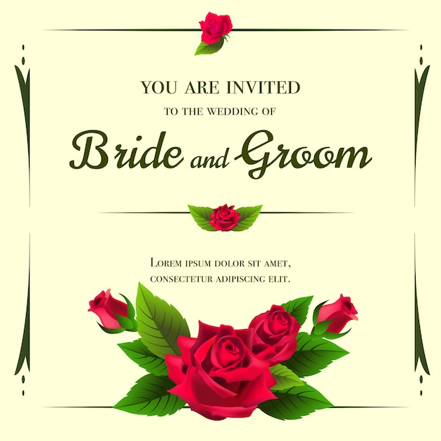 wedding invitation template with red roses on yellow background