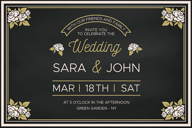 Wedding invitation template with retro floral border Free Vector