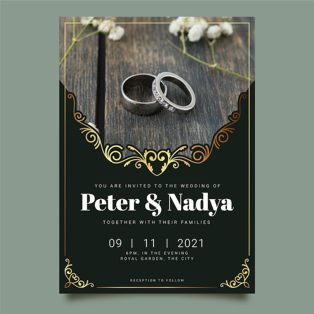 Wedding invitation template with rings photo Free Vector