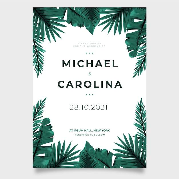 Шаблон свадебного приглашения с тропическими листьями Бесплатные векторы