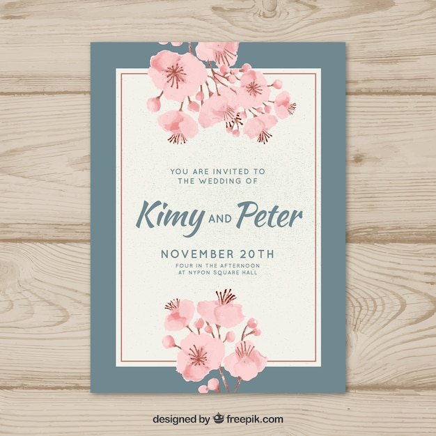 Wedding invitation template with vintage style vector free download wedding invitation template with vintage style free vector stopboris Images