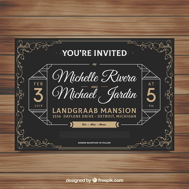 Wedding Invitation Template With Vintage Style Vector