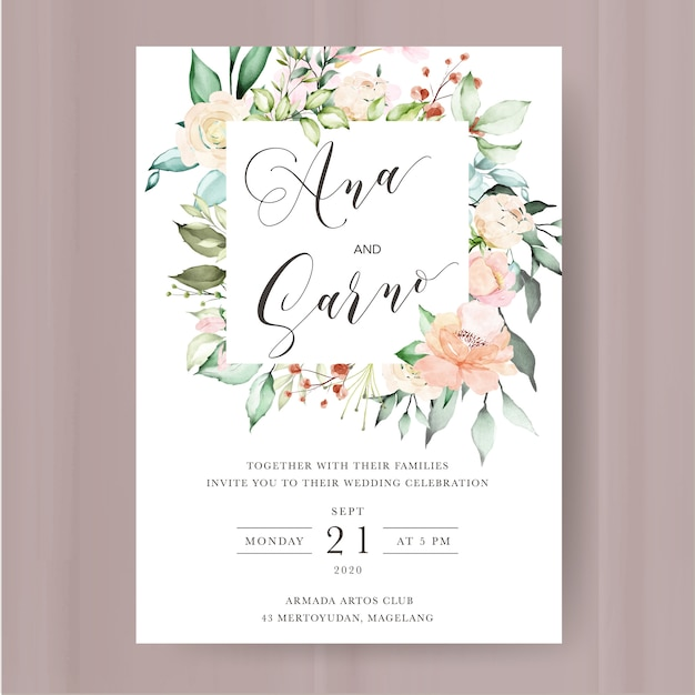 Wedding invitation template with watercolor floral and leaves Premium Vector