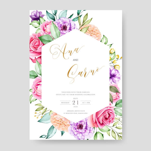 Wedding invitation template with watercolor floral leaves Premium Vector