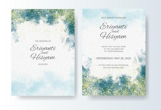 水彩インクスプラッシュと結婚式の招待状のテンプレート Premiumベクター