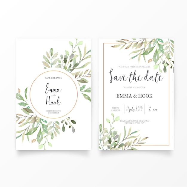 Wedding Invitation Template With Watercolor Leaves Vector