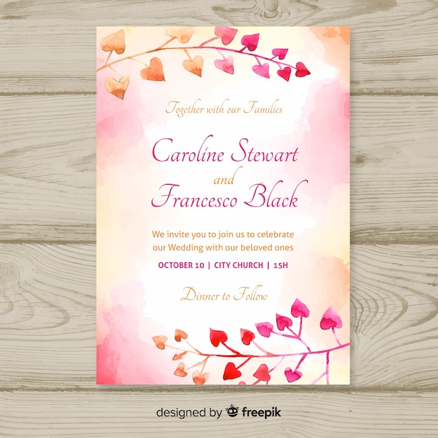 wedding invitation template with watercolor leaves free vector
