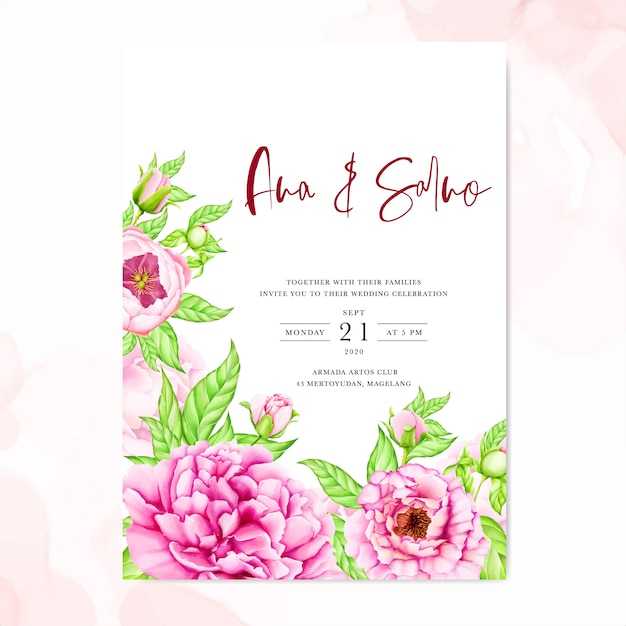 Wedding invitation template with watercolor peony flowers ...