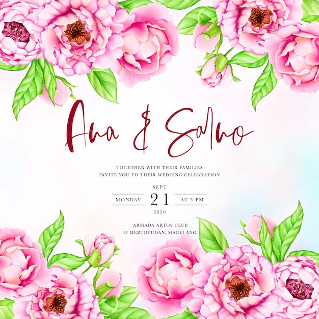 Wedding invitation template with watercolor peony flowers Premium Vector