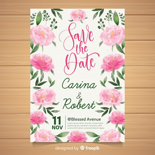 Wedding invitation template with watercolor peony flowers Free Vector